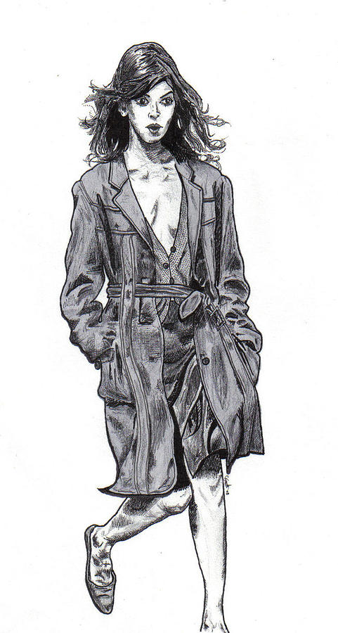 Girl In A Trench Coat Drawing By Cody Smith-2046