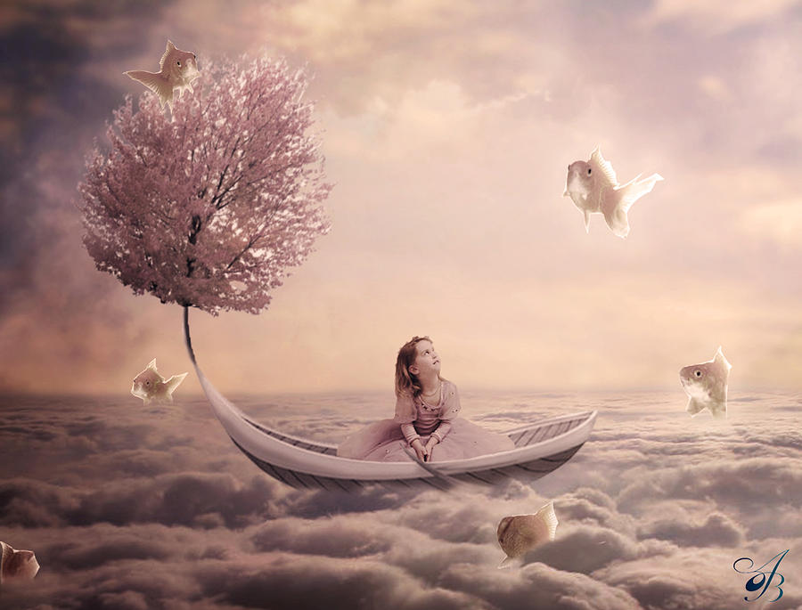 Girl in Fantasy Boat Digital Art by Amy  Brooks