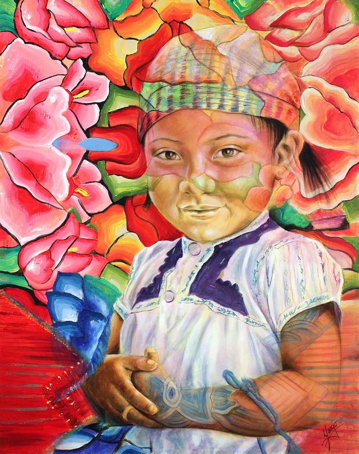 Oaxaca Painting - Girl In Flowers by Karina Llergo