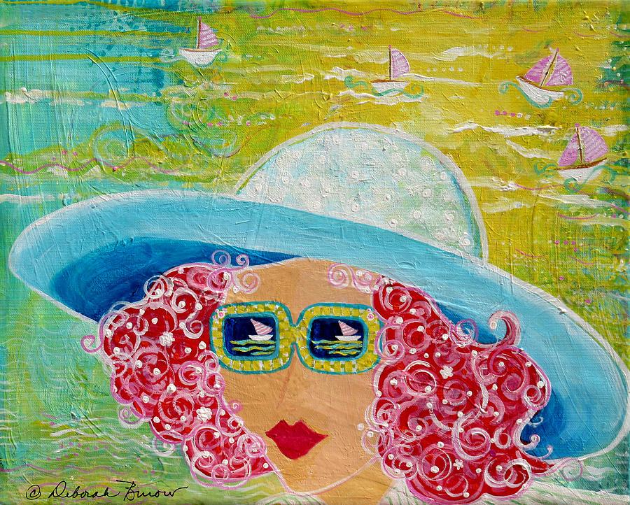 Beach Day Painting - Girl In Sun Hat by Deborah Burow