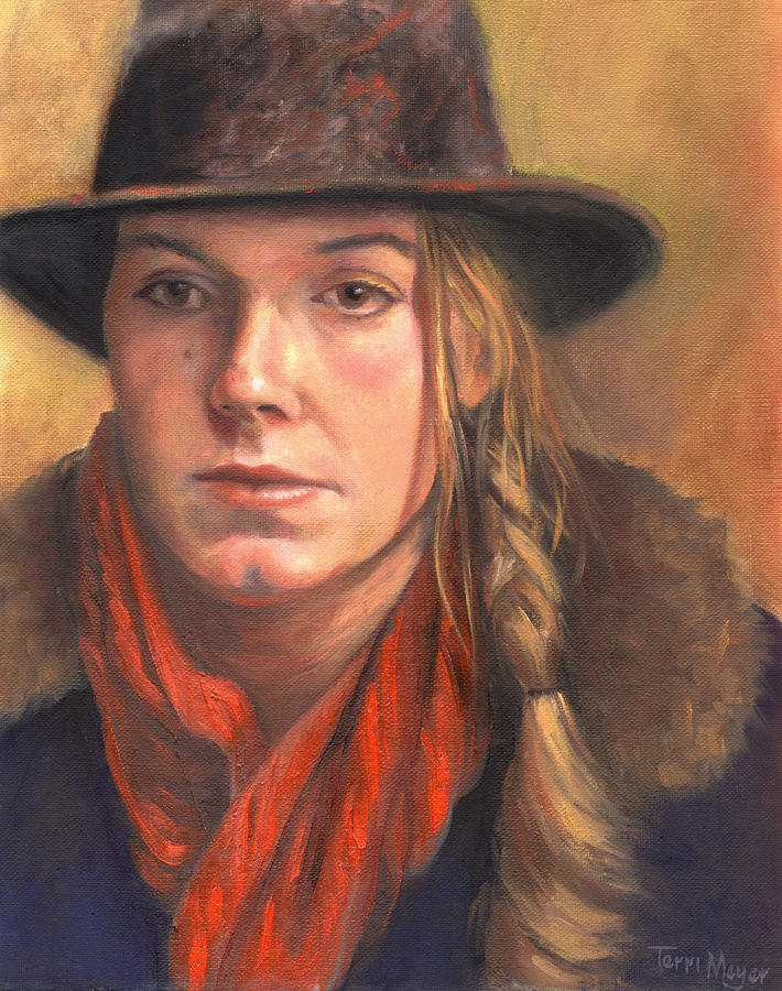 Girl In The Red Scarf Painting by Terri  Meyer