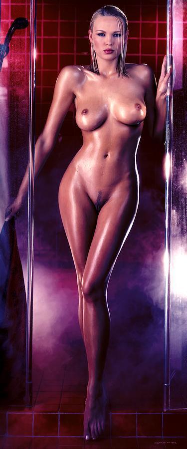 Erotic Digital Art - Girl in the shower 1 by Gabriel T Toro