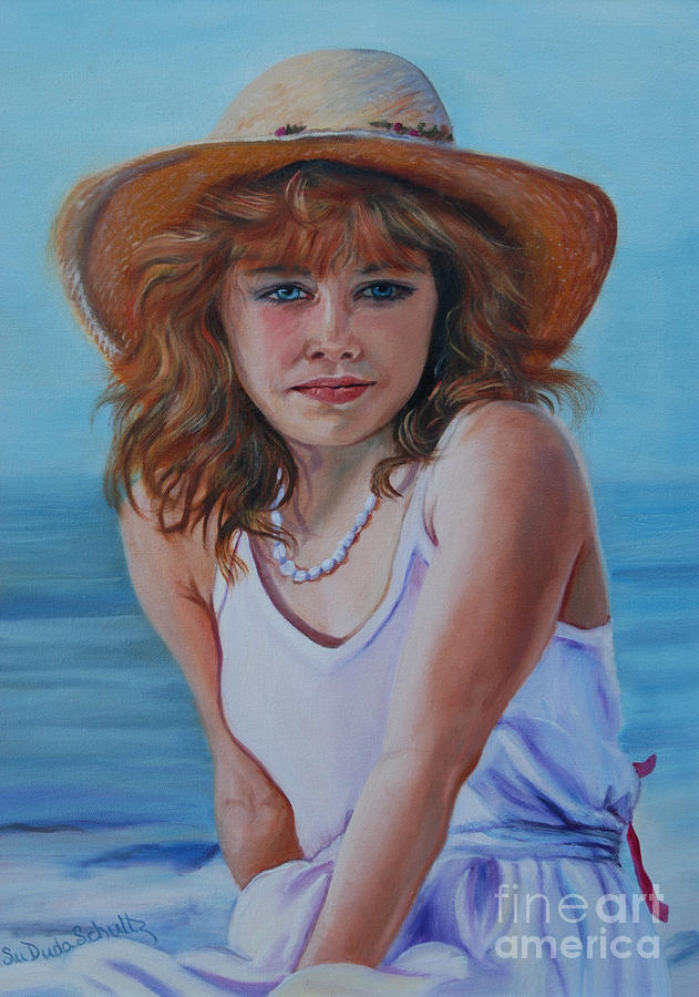 Girl Painting - Girl In The Straw Hat by Susan Duda