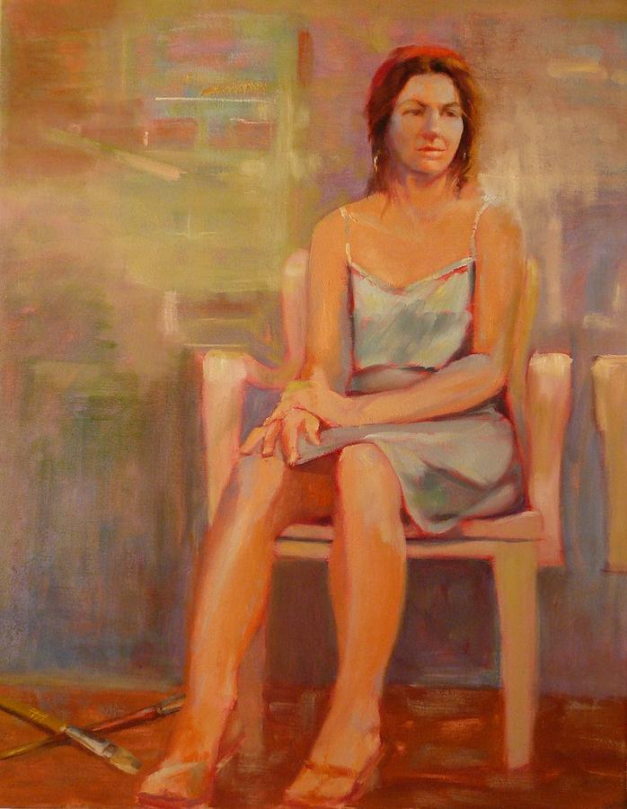 Girl Painting - Girl in White Chair by Irena  Jablonski