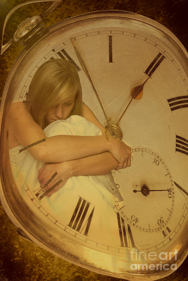 Young Photograph - Girl In White Dress In Pocket Watch by Amanda Elwell