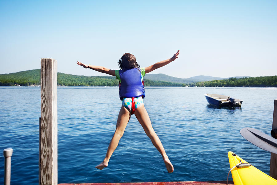 Little Photograph - Girl Jumps In The Lake by Jo Ann Snover