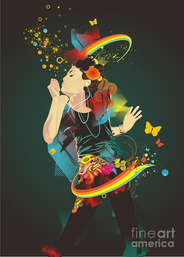 Woman Digital Art - Girl Making Soap Bubbles,rainbow And by Gudron