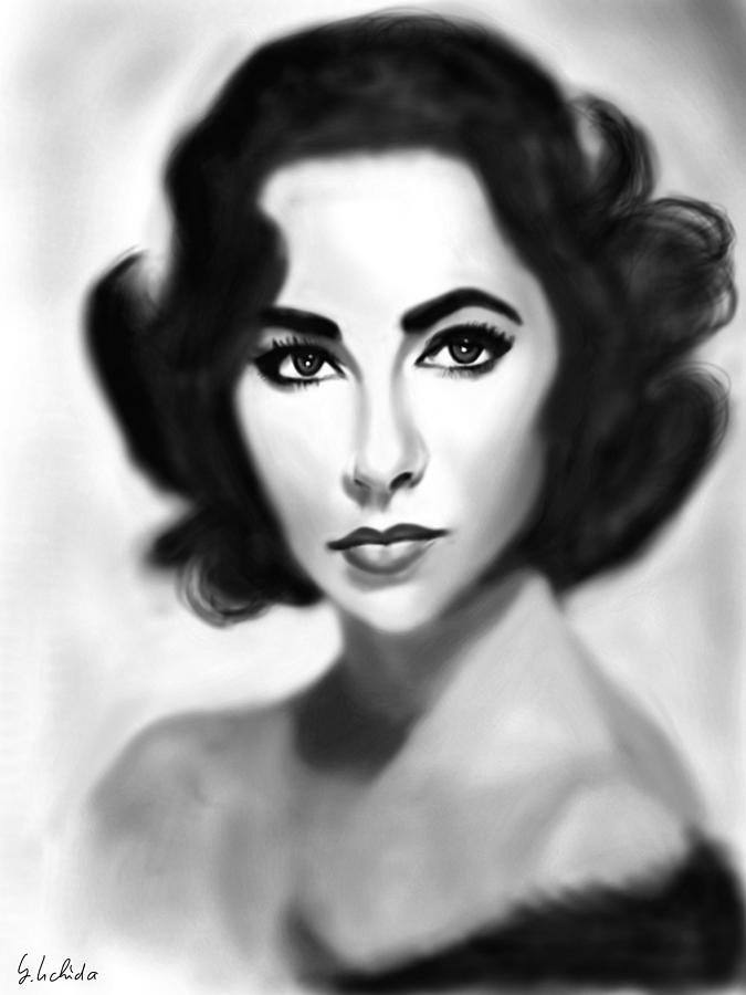 Ipad Painting - Girl No.197 Elizabeth Taylor by Yoshiyuki Uchida