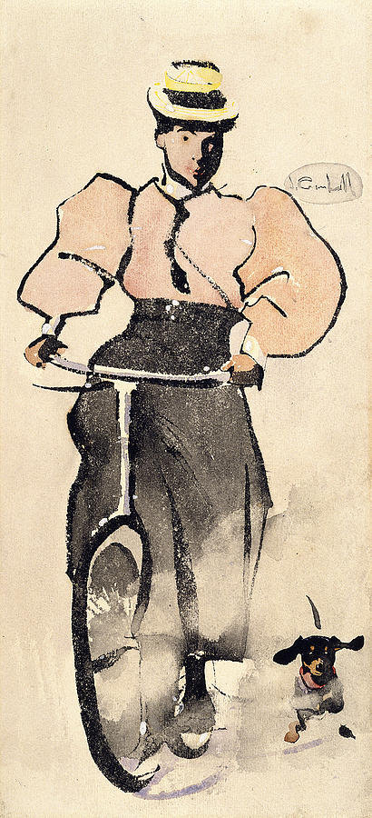 Girl On A Bicycle C1896 Drawing By Joseph Crawhall