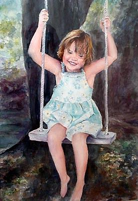 Young Girl Painting - Girl On A Swing by Barbara Seibel