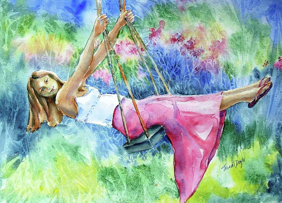 Girl On A Swing Painting by Trudi Doyle