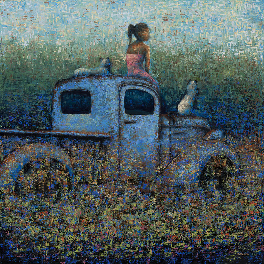 Girl Painting - Girl On A Truck by Ned Shuchter