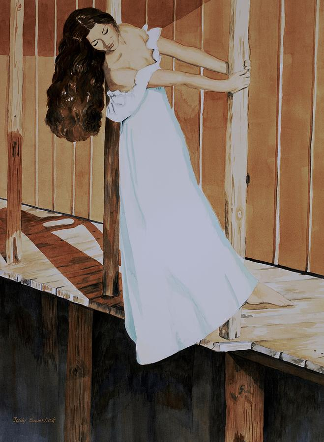 Girl On Dock Painting - Girl on Dock by Judy Swerlick