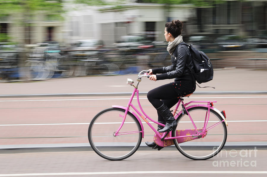 Amsterdam Photograph - Girl On Pink Bicycle by Oscar Gutierrez