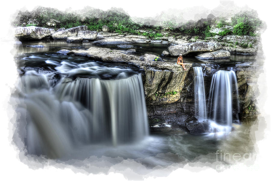Girl Photograph - Girl On Rock At Falls by Dan Friend