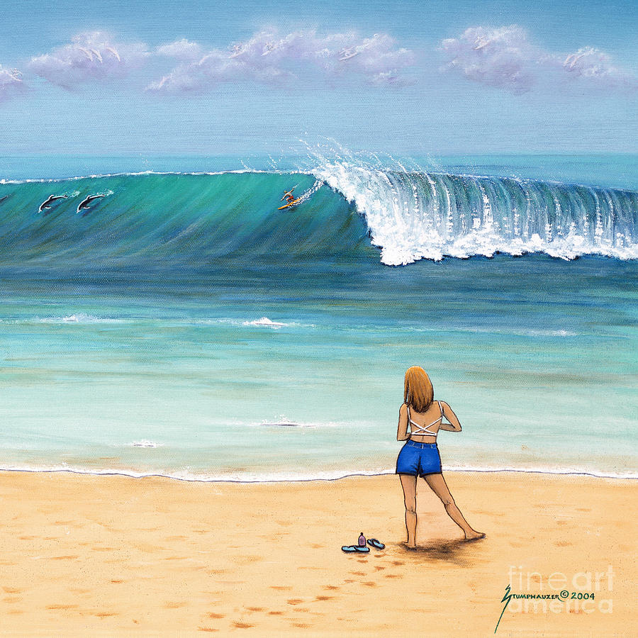 Beach Painting - Girl On Surfer Beach by Jerome Stumphauzer