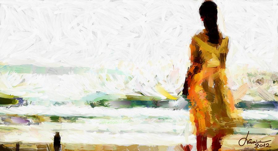 Girl Digital Art - Girl On The Beach Tnm by Vincent DiNovici