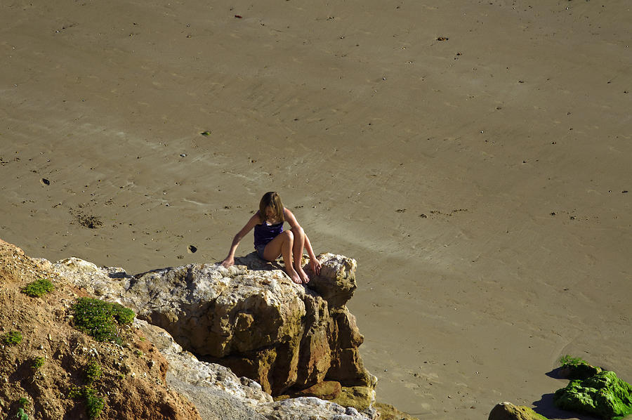 Britain Photograph - Girl On The Rocks - Compton Bay by Rod Johnson