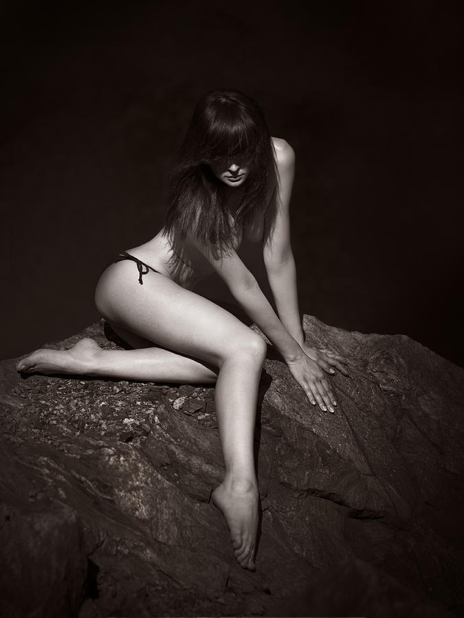 Girl Photograph - Girl On The Stone-2 by Alexander Pereverzov