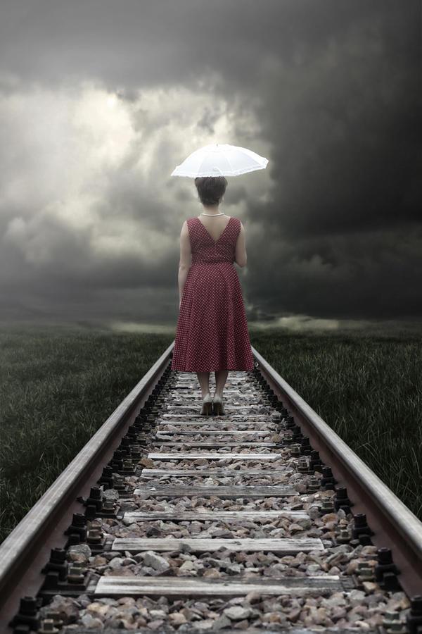 Woman Photograph - Girl On Tracks by Joana Kruse