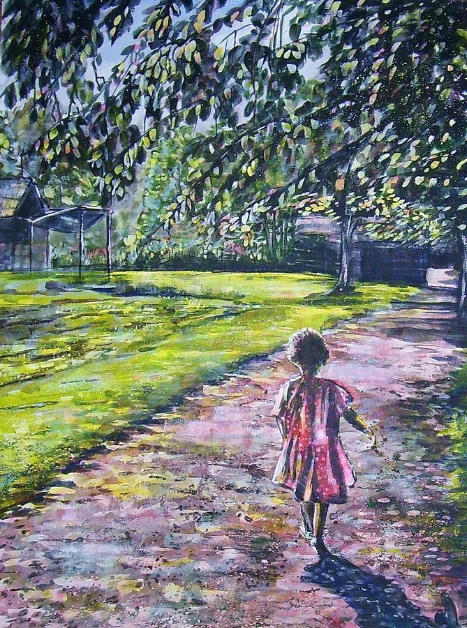 Girl On Trail Painting by Linda Vaughon
