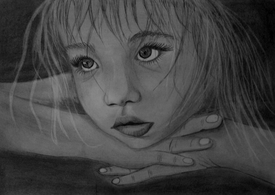 Tears Drawing - Girl by Pawel Heluszka