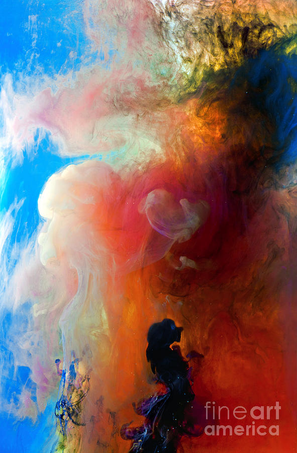 Abstract Painting - Girl Praying by Petros Yiannakas