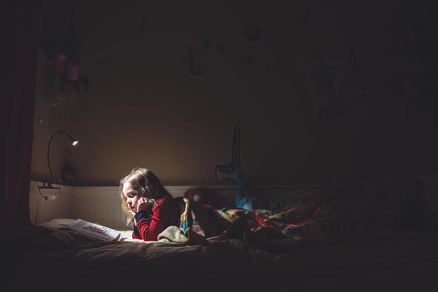 Girl Reading In Her Bed At Night Photograph by Teresa Short