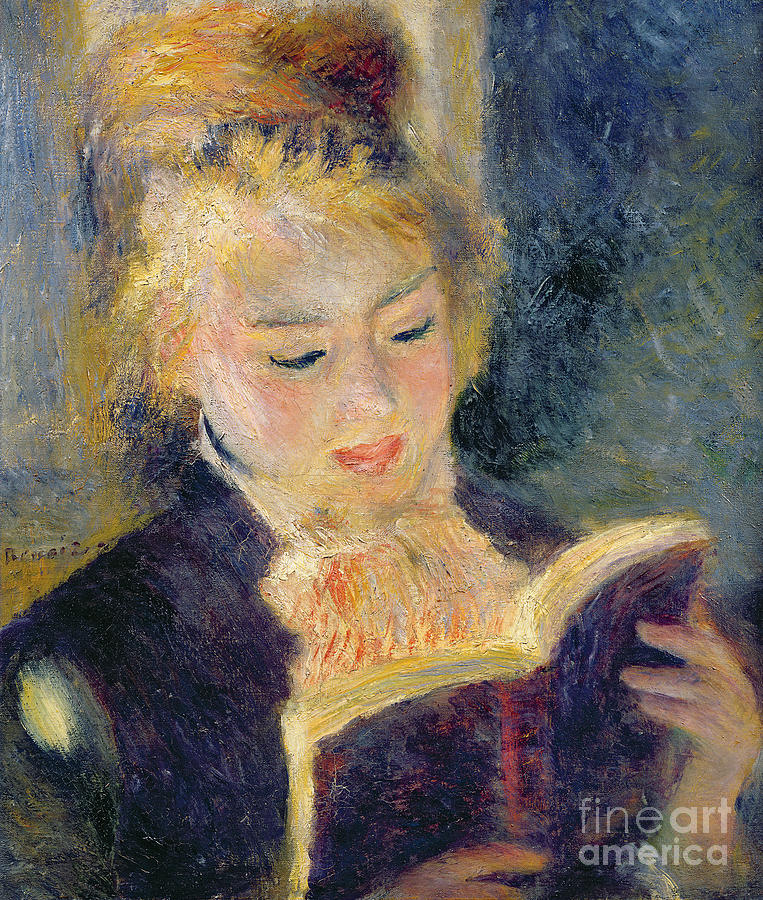 Impressionist Painting - Girl Reading by Pierre Auguste Renoir