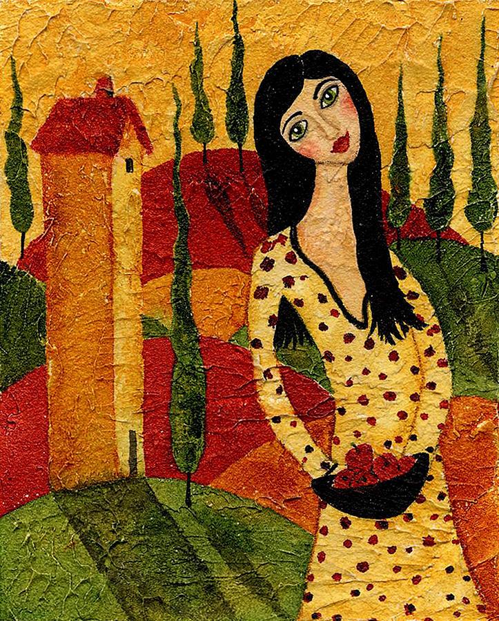 Kitchen Folk Art: Girl Red Apples Country Landscape Trees Italian Whimsical
