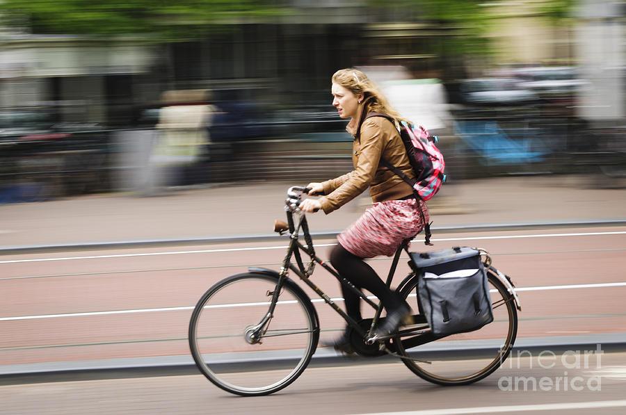 Girl Riding Bicycle Photograph by Oscar Gutierrez