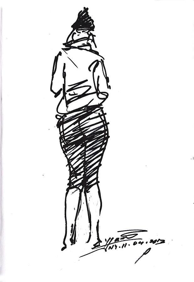 Girl Drawing - Girl Sketch by Ylli Haruni
