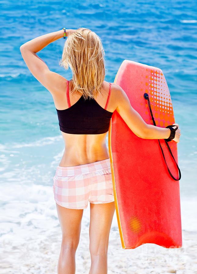 Active Photograph - Girl Surfer On The Beach by Anna Om