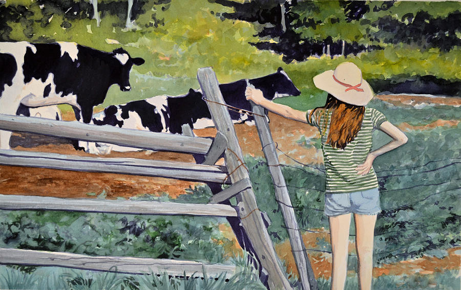 Cows Painting - Girl Talk by Thomas Stratton