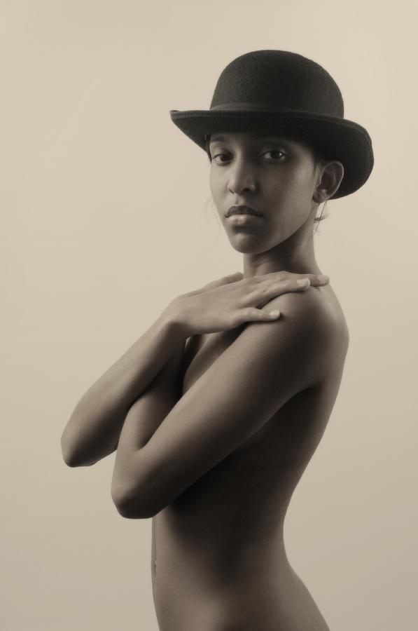Nude Photograph - Girl With A Bowler Hat by Mayumi Yoshimaru