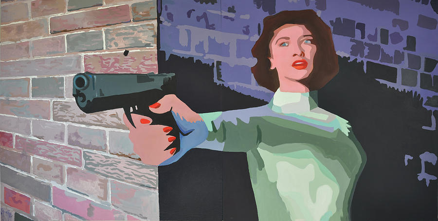 Tiki Painting - Girl With A Gun by Geoff Greene