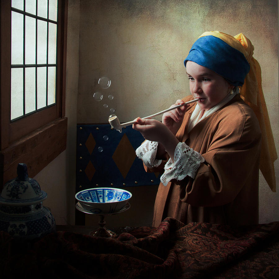 Dutch Golden Age Photograph  Girl With A Pearl Earring Blowing Bubbles By  Levin Rodriguez