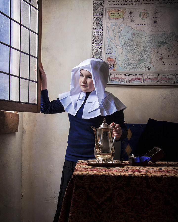 Dutch Photograph - Girl With A Water Pitcher by Levin Rodriguez