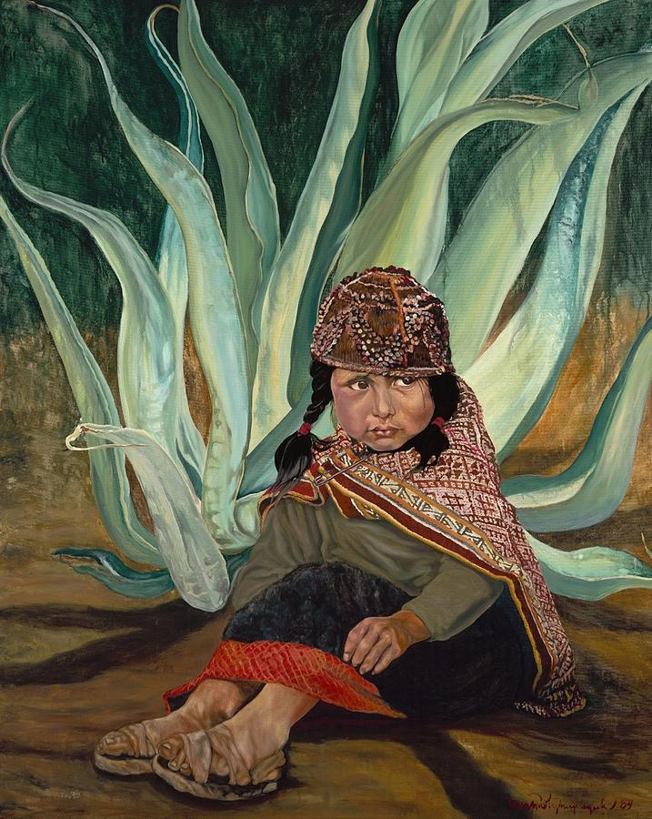Peru Painting - Girl with Agave by Christine Lytwynczuk