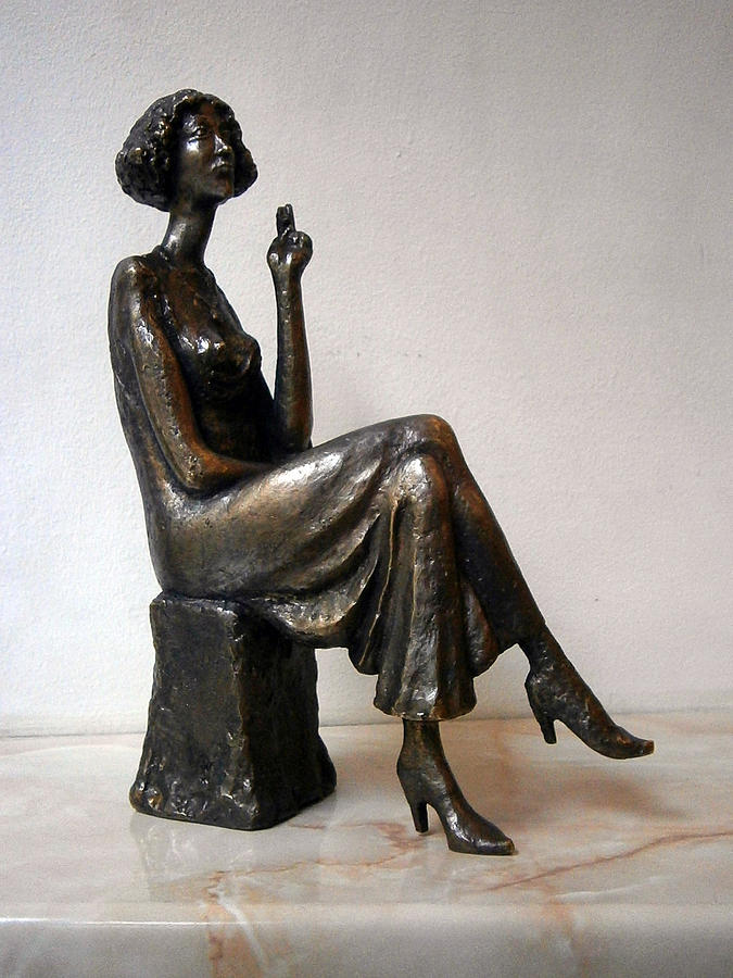 Bronze Sculpture - Girl With Bare Breasts by Nikola Litchkov