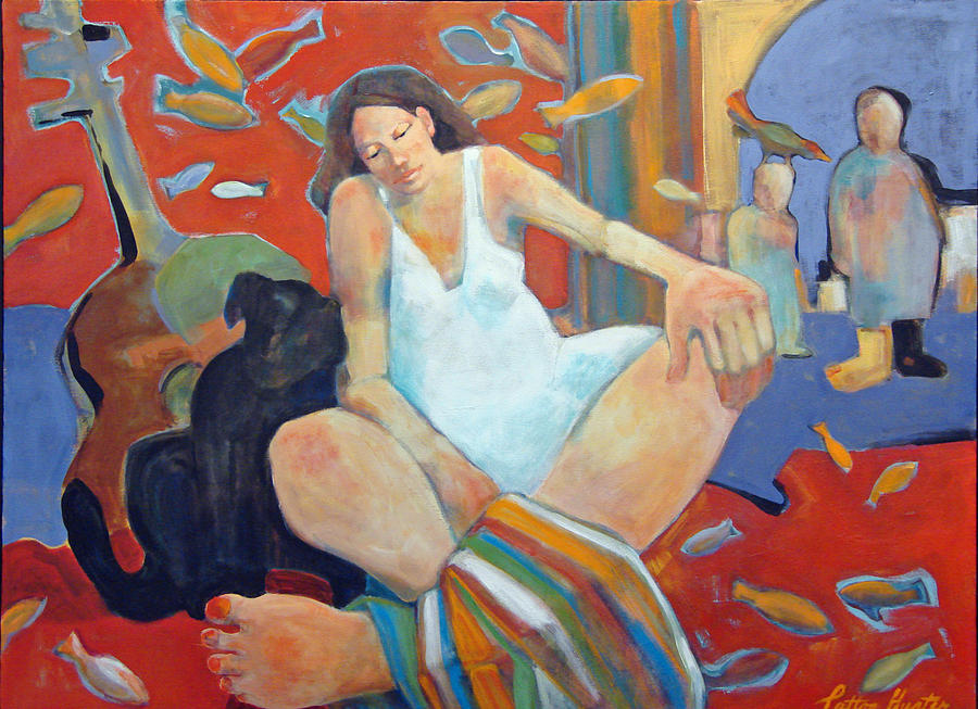 Woman Painting - Girl with Black Dog by Patton Hunter