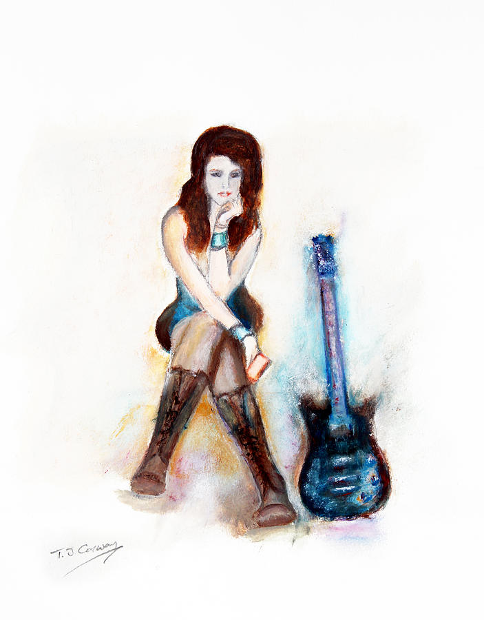 Girl with blue guitar by Tom Conway