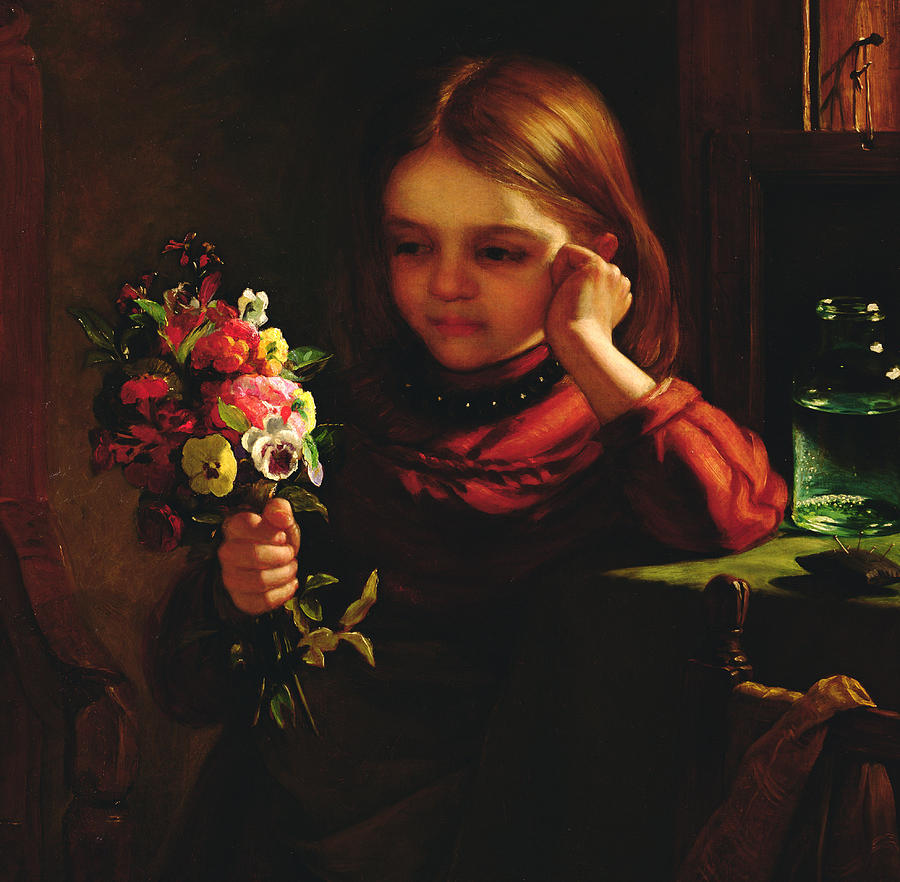 Girl With Flowers Painting - Girl With Flowers by John Davidson