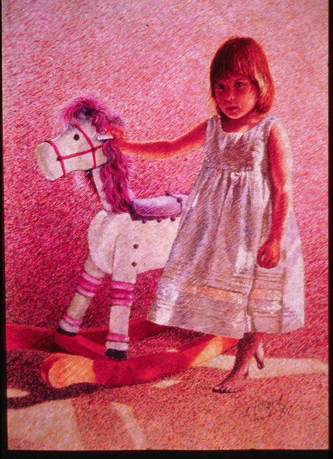Small Girl Painting - Girl With Hobby Horse by Herschel Pollard