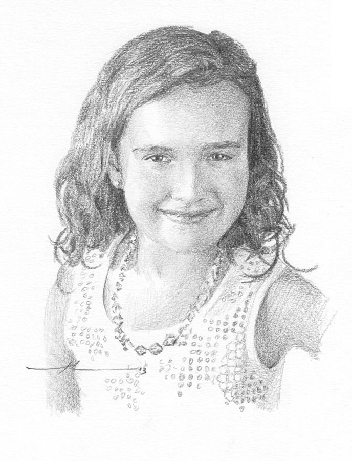 Girl With Necklace Pencil Portrait Drawing by Mike Theuer
