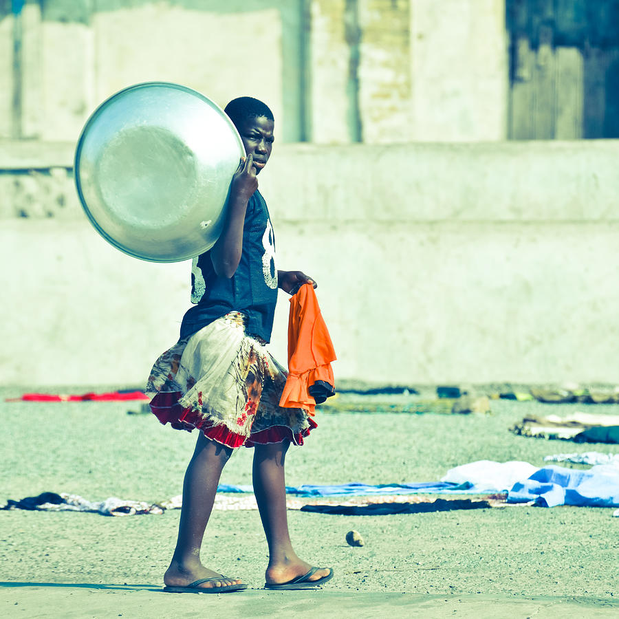 Accra Photograph - Girl With The Big Steel Bowl by Ronda Broatch
