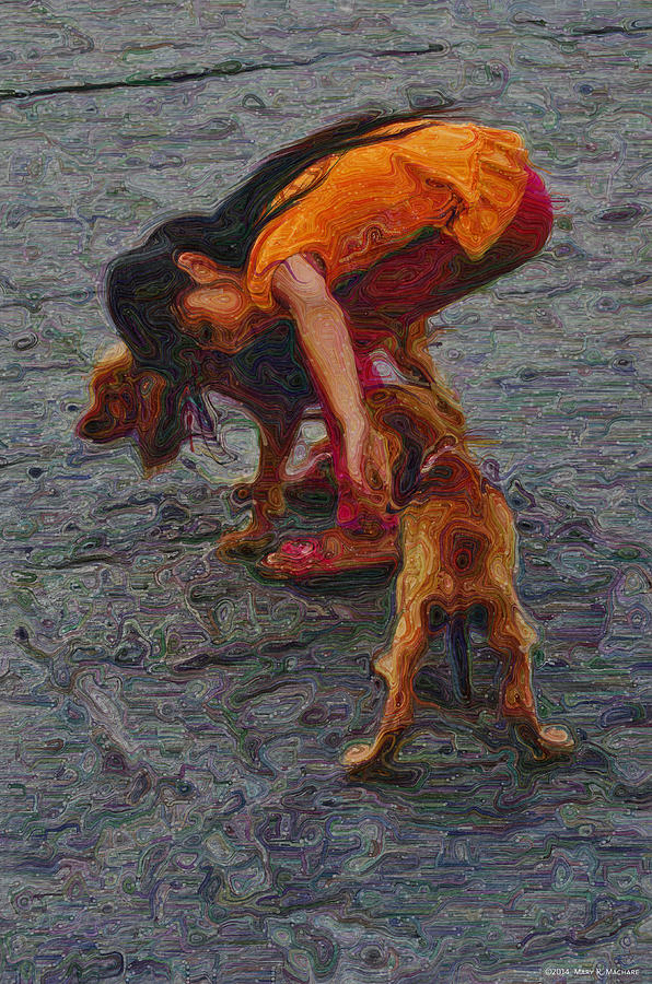 Retrievers Digital Art - Girl With Two Dogs by Mary Machare