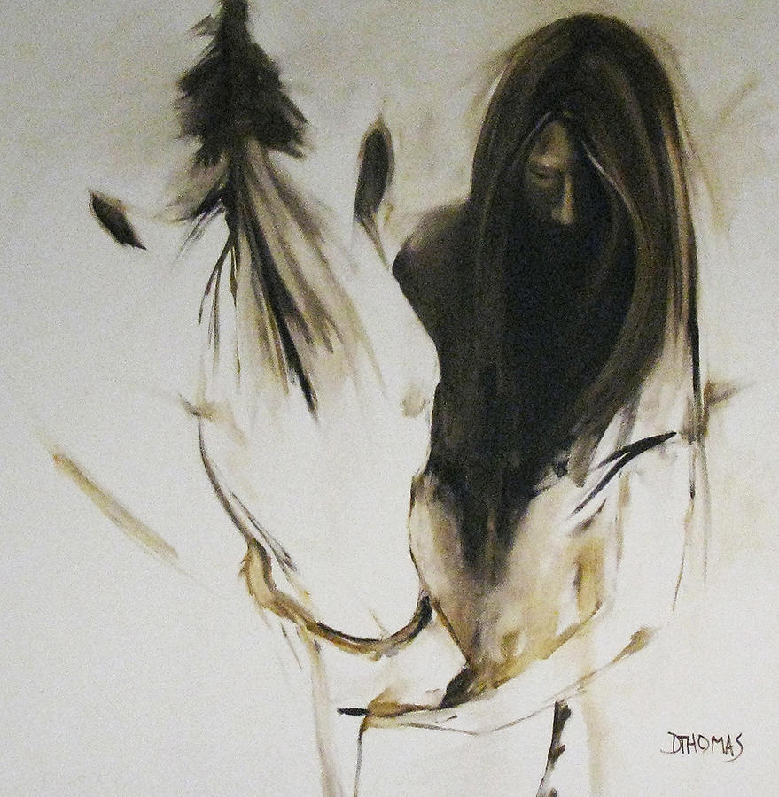 Horse painting girl with white horse by donna thomas