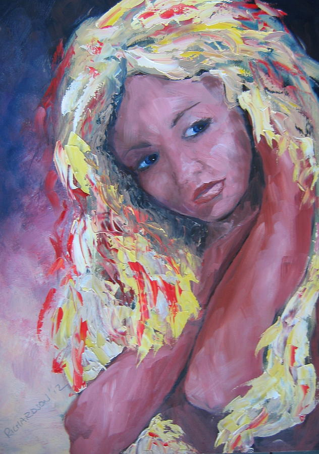 Portrait Painting - Girl With Yellow Hair by Susan Richardson
