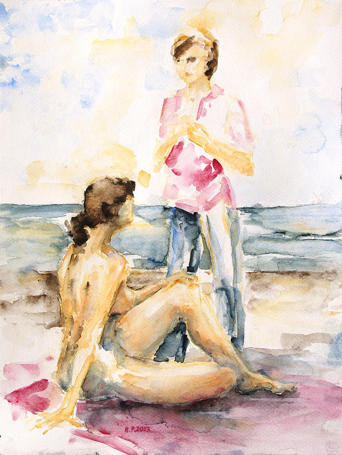 Female Painting - Girlfriends At The Beach by Barbara Pommerenke